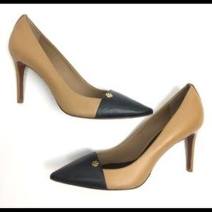 Tory Burch Tan And Black Leather Pumps